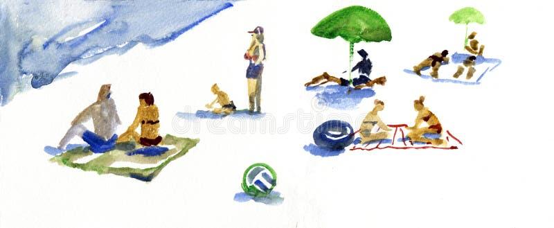 Gente en la playa Ejemplo dibujado mano de la acuarela ilustración del vector