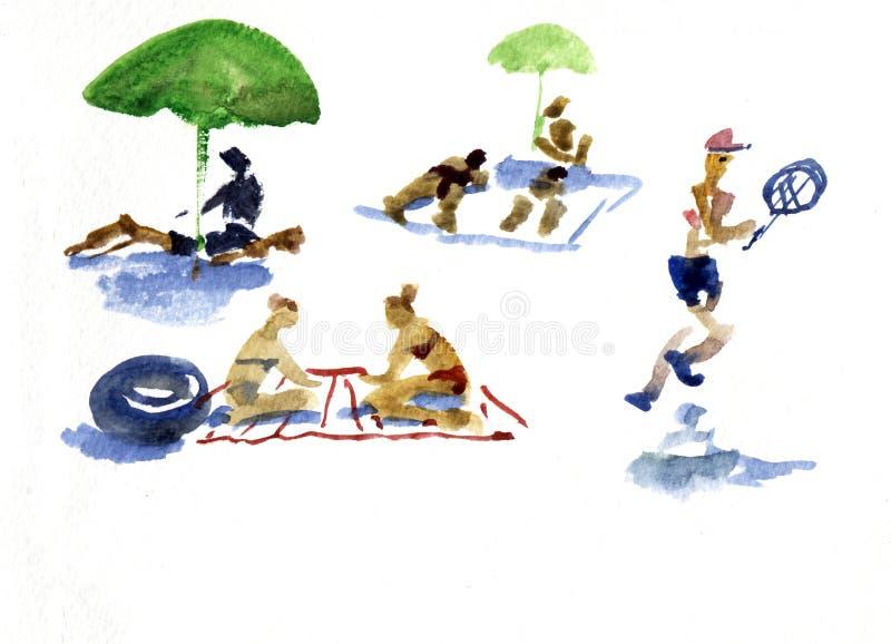 Gente en la playa Ejemplo dibujado mano de la acuarela libre illustration