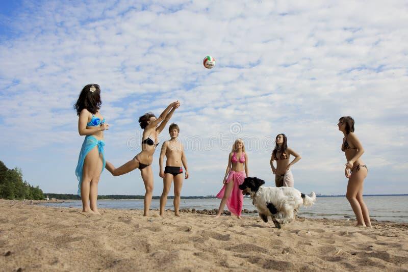Gente en la playa que juega a voleibol imagen de archivo libre de regalías