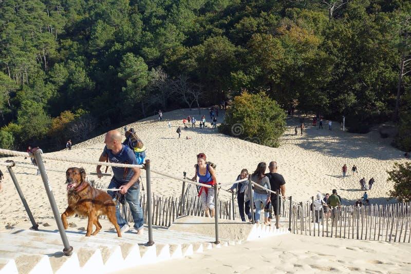Gente en las escaleras, duna de Pyla fotografía de archivo libre de regalías