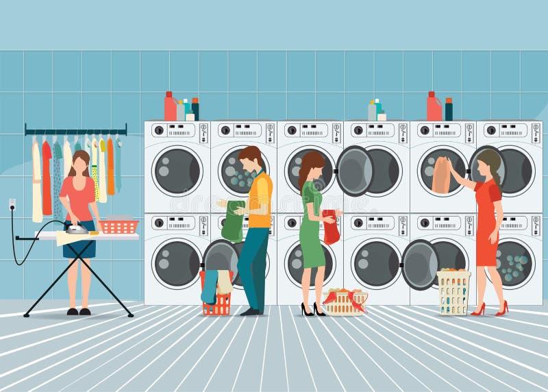 Gente en lavadero con la fila de lavadoras industriales libre illustration