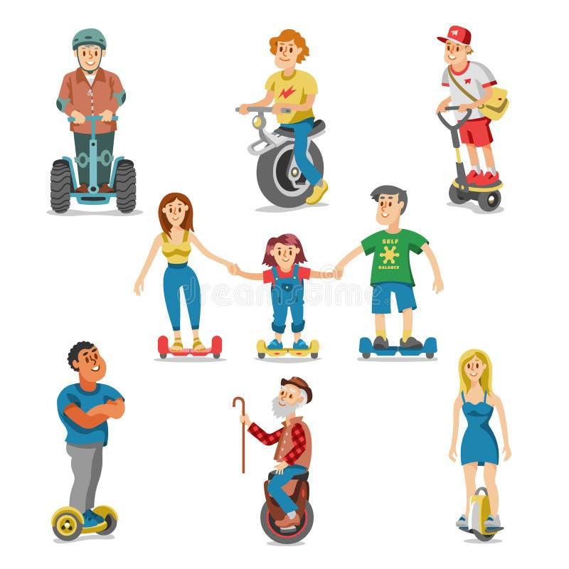 Gente en los caracteres determinados del transporte del vector segway eléctrico del hoverboard que conducen en el gyroscooter y e stock de ilustración