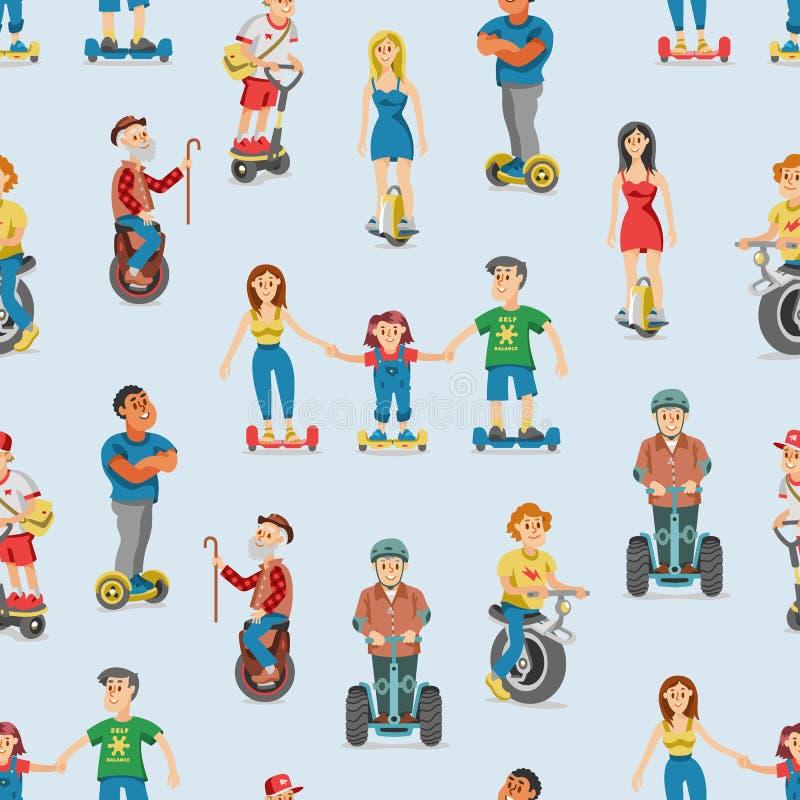 Gente en los caracteres determinados segway del hoverboard eléctrico del transporte que conducen en el gyroscooter y el hombre qu stock de ilustración