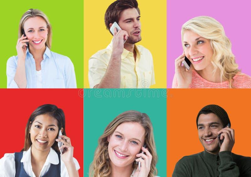 Gente en los teléfonos en secciones cuadradas coloridas foto de archivo libre de regalías