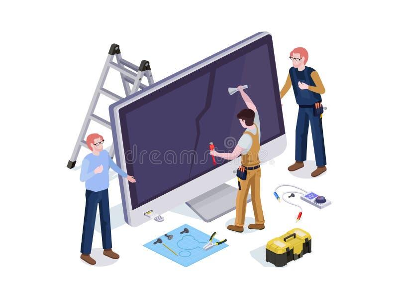 Gente en los trabajadores del servicio de reparación de la forma hacer diagnósticos de la pantalla y el reemplazo 3d isométrico foto de archivo libre de regalías