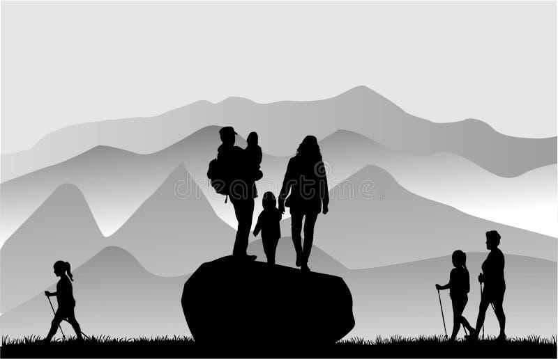 Gente en montañas ilustración del vector