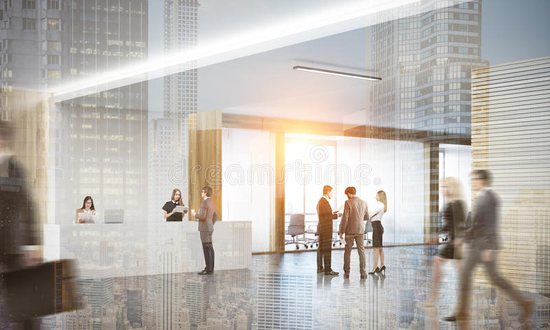 Gente en oficina de ciudad grande moderna stock de ilustración