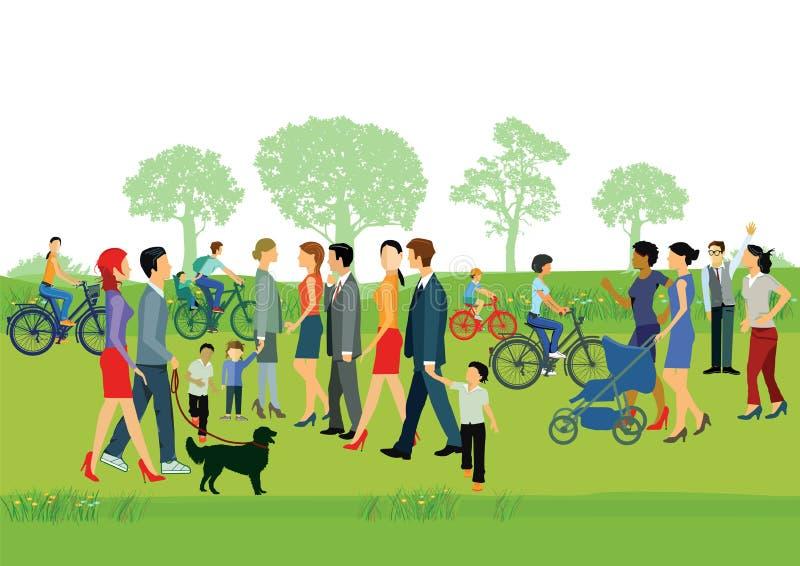 Gente en parque stock de ilustración