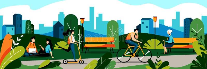 Gente en parque de la ciudad Ejemplo plano del vector Primavera y concepto del pasatiempo del fin de semana del verano Fondo de l stock de ilustración