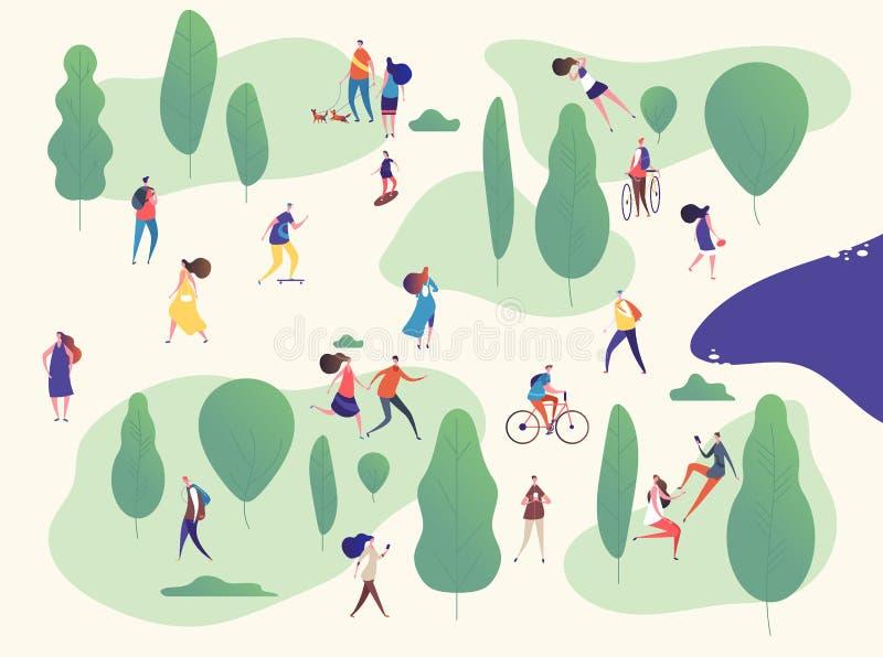 Gente en parque Familias en actividades al aire libre en comida campestre Hombre, niños de la mujer con los smartphones que monta libre illustration