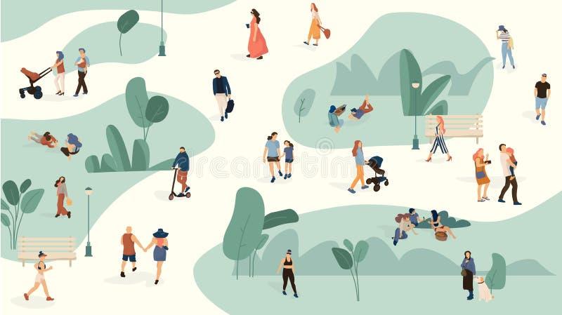 Gente en parque Los hombres y las mujeres de moda aprietan caminar en el parque del verano, historieta grupo grande de la gente O ilustración del vector