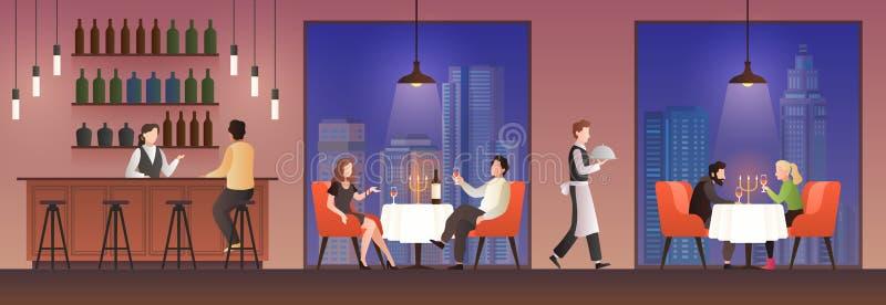 Gente en restaurante Familias que almuerzan en la zona de restaurantes, mujeres de los hombres que se encuentran comiendo la bebi stock de ilustración