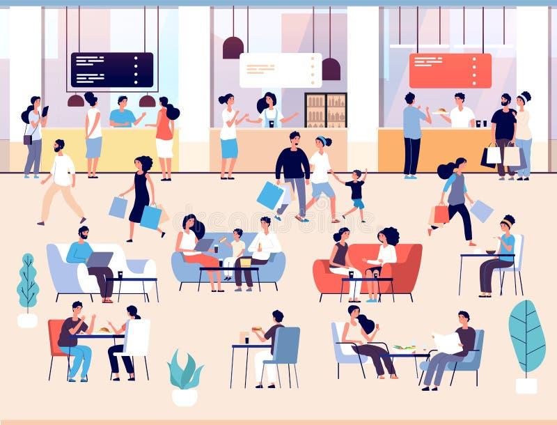 Gente en restaurante Hombres y mujeres que comen la comida en buffet del café Familias que almuerzan en vector interior de la zon ilustración del vector