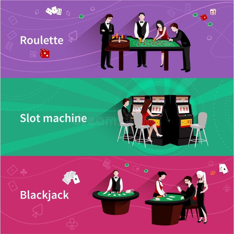 Gente en sistema de la bandera del casino ilustración del vector