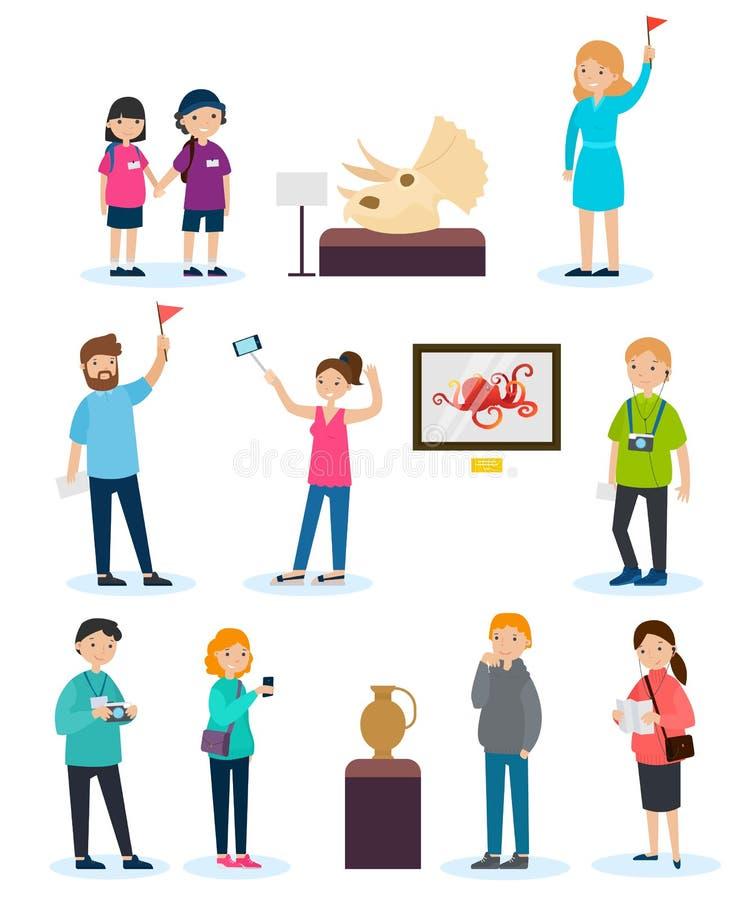 Gente en sistema de la excursión ilustración del vector
