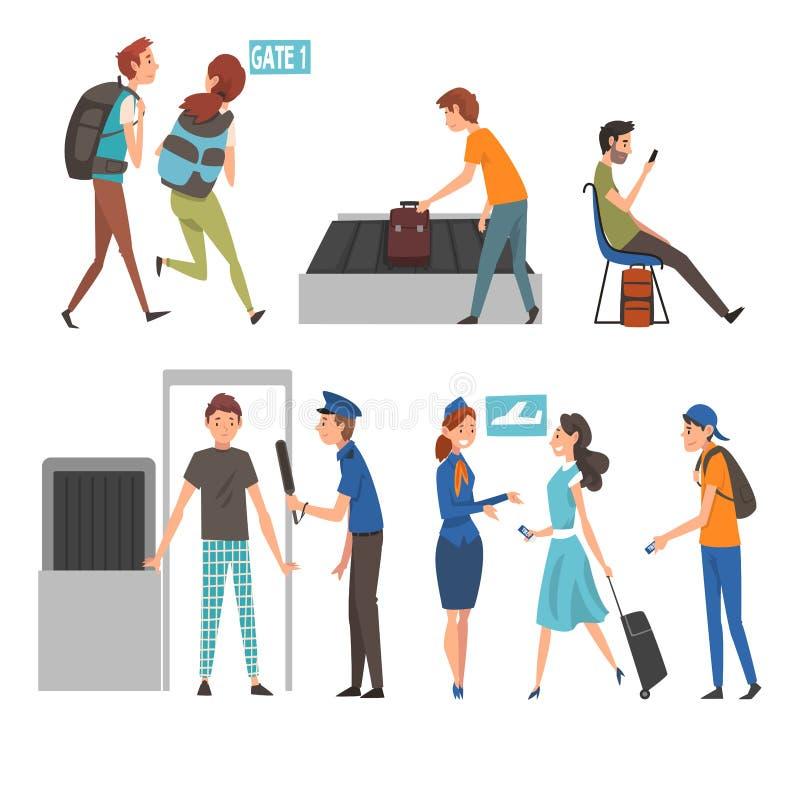 Gente en sistema del aeropuerto, pasajeros que pasan a través del escáner de la seguridad, comprobación para que espera el regist libre illustration