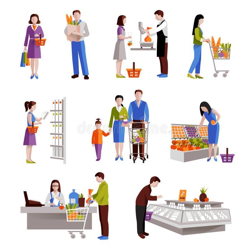 Gente en supermercado libre illustration