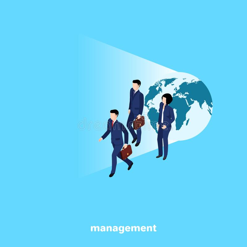 Gente en trajes de negocios en el fondo del globo ilustración del vector