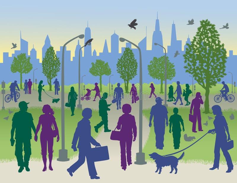 Gente en un parque de la ciudad libre illustration