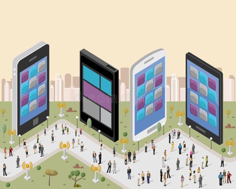 Gente en una ciudad con los teléfonos elegantes ilustración del vector