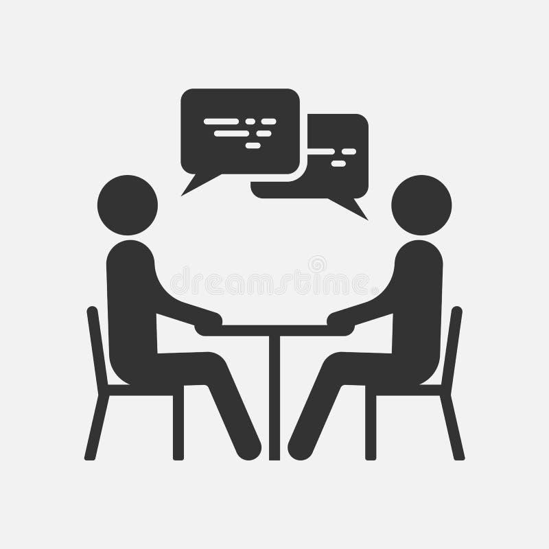 Gente en una tabla que habla, icono aislado en el fondo blanco Ilustración del vector stock de ilustración