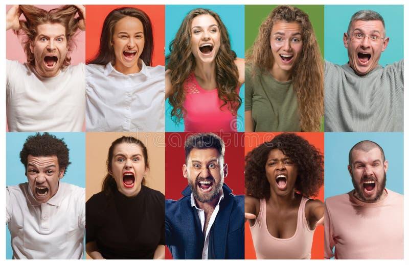 Gente enojada que grita El collage de diversas expresiones faciales, emociones y sensaciones humanas de hombres jovenes y de muje fotografía de archivo libre de regalías