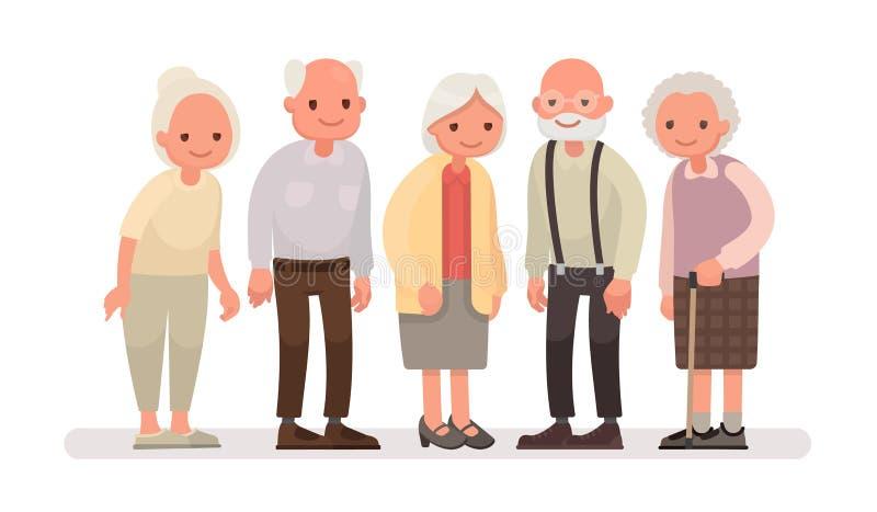 Gente envejecida Abuelos en un fondo blanco Illustra del vector