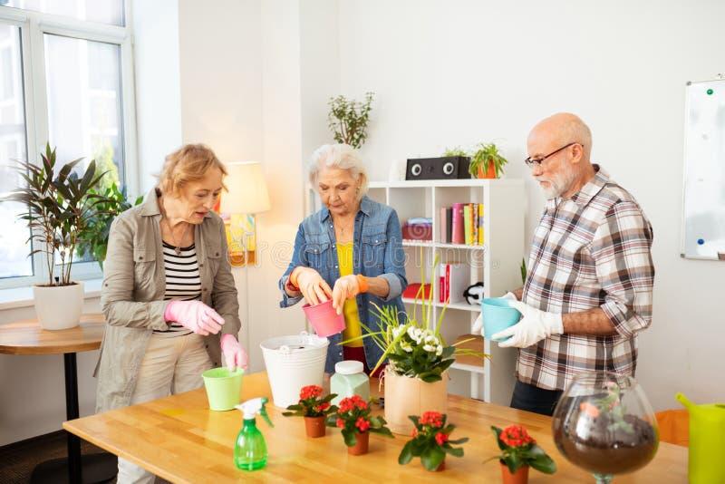 Gente envejecida agradable agradable que planta las flores juntas fotografía de archivo libre de regalías