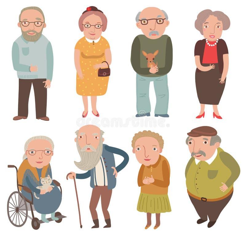 Gente envejecida Más viejos hombres y mujeres Abuelas y abuelos ilustración del vector