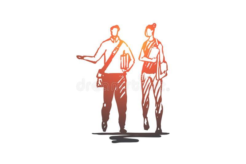 Gente, estudiantes, paseo, bolso, concepto de la universidad Vector aislado dibujado mano ilustración del vector