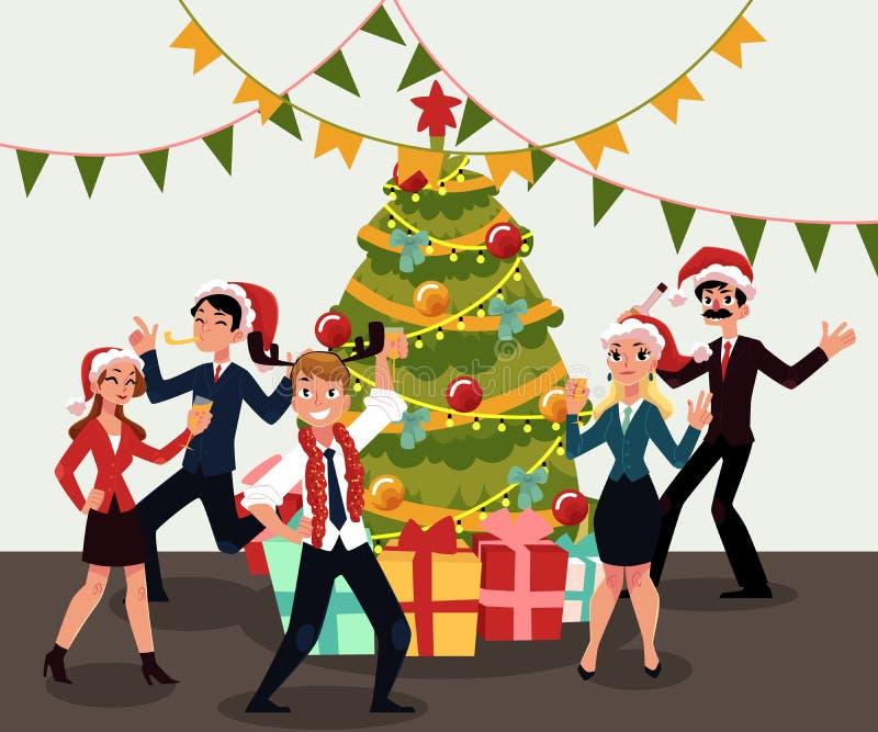 Gente felice che ha partito corporativo di natale, celebrante il Natale in ufficio illustrazione vettoriale