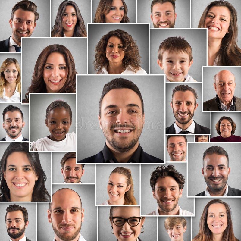 Gente felice del collage immagine stock libera da diritti