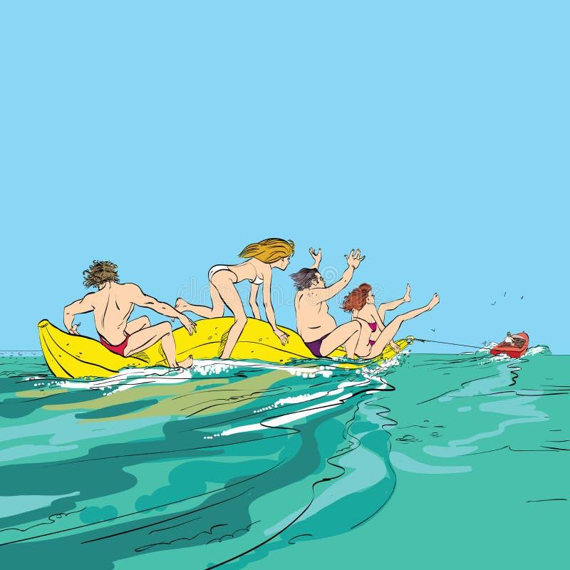 Gente felice divertendosi sulla barca di banana illustrazione di stock