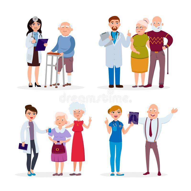 Gente felice e medici senior in buona salute che hanno controllo medico su nell'illustrazione piana di vettore della casa di cura illustrazione vettoriale