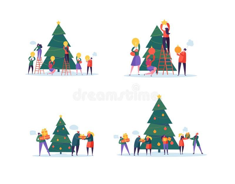 Gente felice piana che decora l'albero di Natale Partito di festa allegro di natale Caratteri che celebrano nuovo anno EVE illustrazione vettoriale