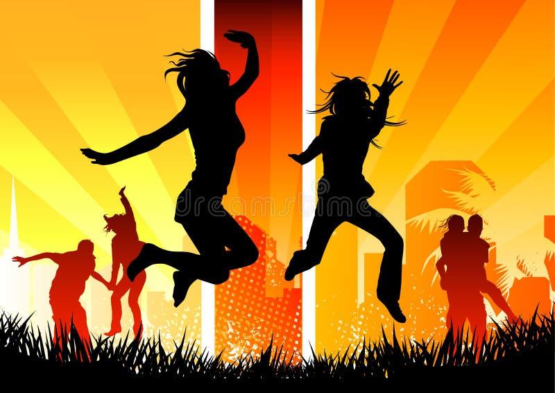 Gente feliz asoleada libre illustration