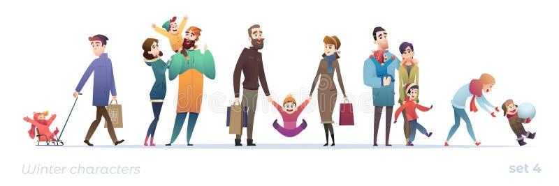 Gente feliz con los niños Fije de personajes de dibujos animados en diseño plano Compras y días de fiesta del invierno Familias d ilustración del vector
