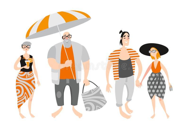 Gente feliz de la historieta en la playa Pares maduros y amantes jovenes stock de ilustración
