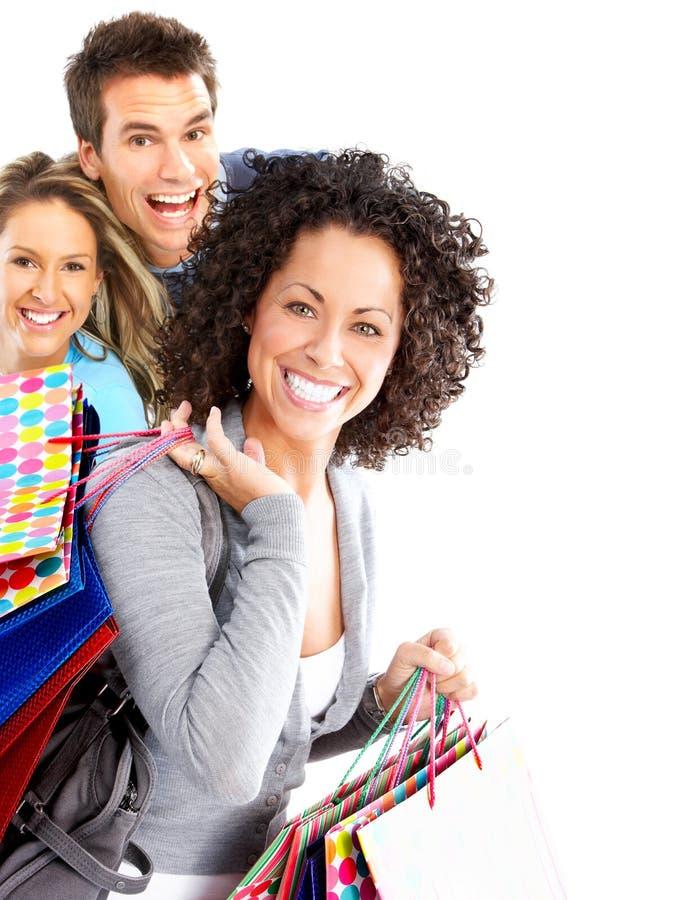 Gente feliz de las compras imagen de archivo libre de regalías