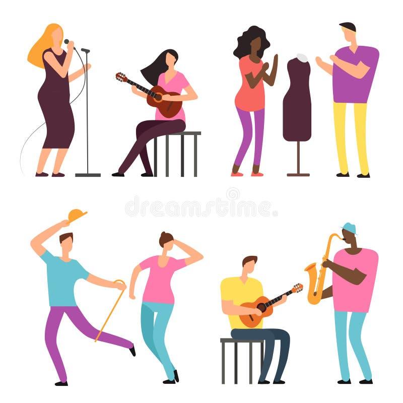 Gente feliz del arte y de la música Caracteres del vector de los artistas profesionales y de los músicos ilustración del vector