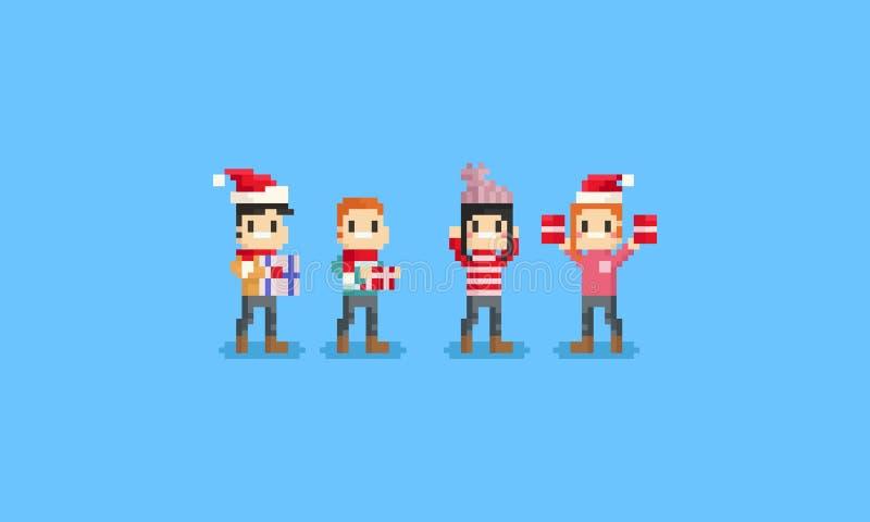 Gente feliz del pixel que sostiene la caja de regalo Chrismas 8bit ilustración del vector