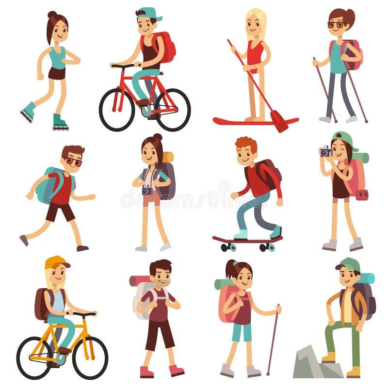 Gente feliz del viaje que camina los actives al aire libre Caracteres planos del vector fijados libre illustration