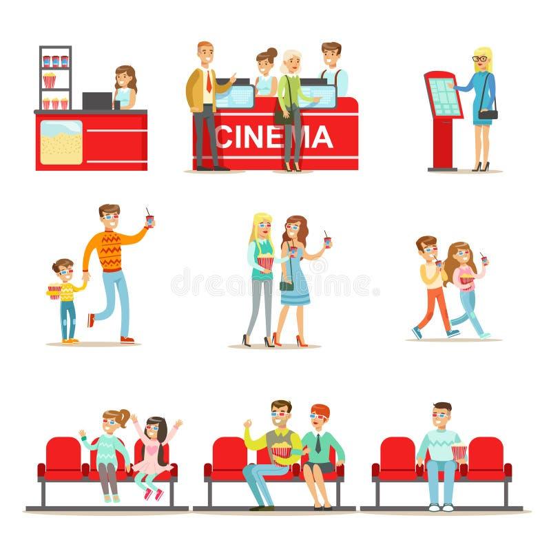 Gente feliz en teatro del cine, comprando boletos y las palomitas ilustración del vector