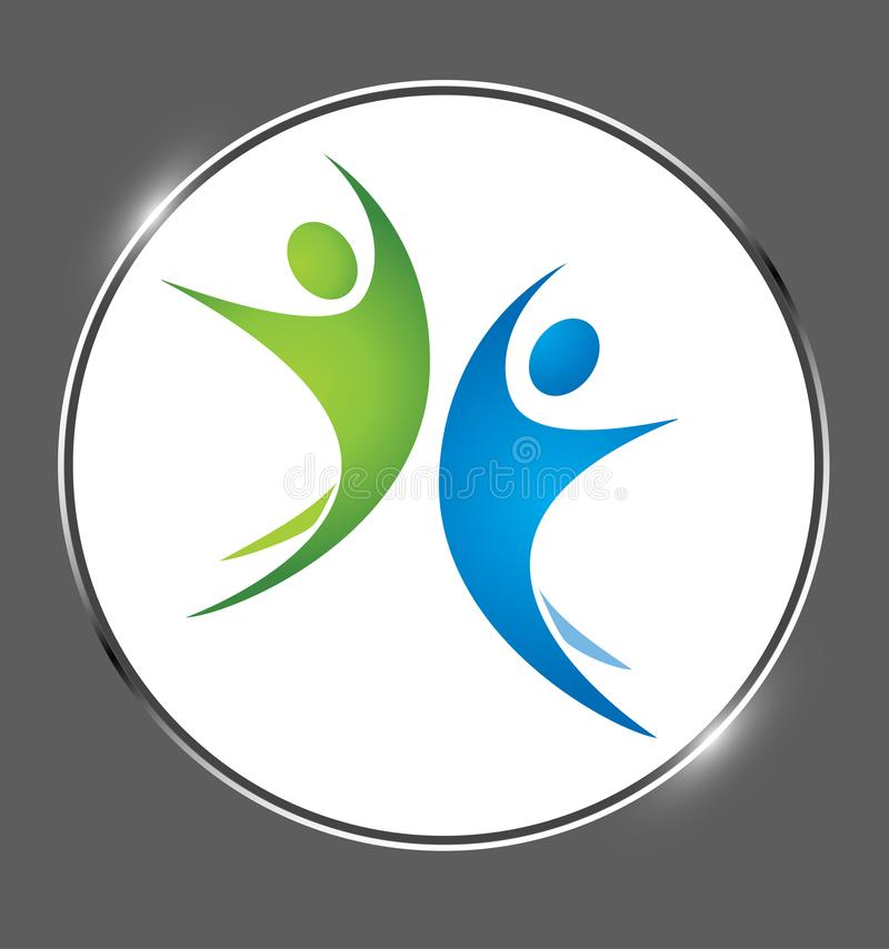 Gente, feliz, logotipo colorido creativo del logotipo del negocio en un vector de la medalla del brillo stock de ilustración
