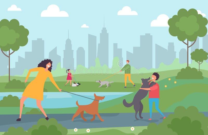 Gente feliz que camina con los perros en el parque de la ciudad Adultos y niños del personaje de dibujos animados con el ejemplo  ilustración del vector