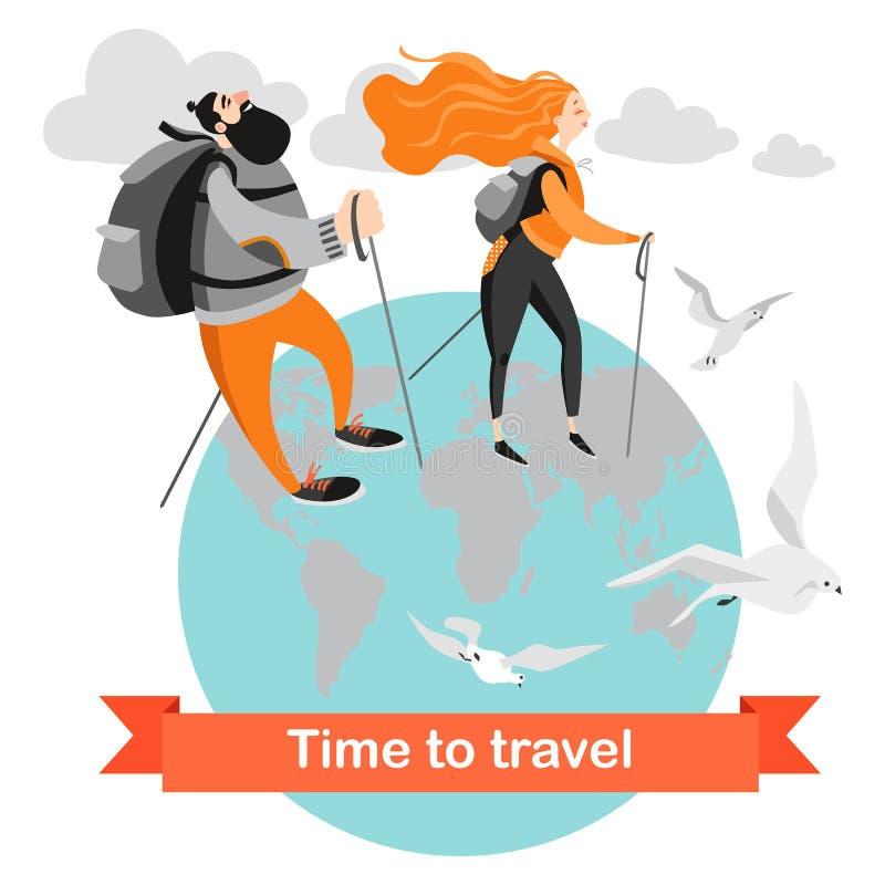 Gente feliz que camina junto Dos personajes de dibujos animados con las mochilas contra el planeta stock de ilustración