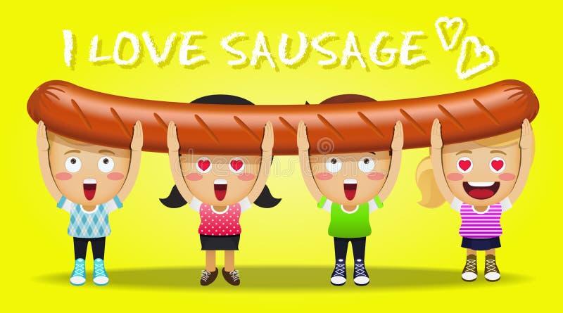 Gente feliz que lleva la salchicha asada a la parrilla grande stock de ilustración
