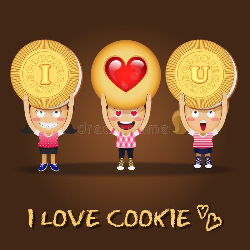 Gente feliz que lleva las galletas grandes libre illustration