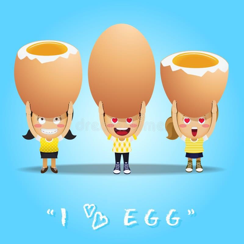 Gente feliz que lleva los huevos grandes libre illustration