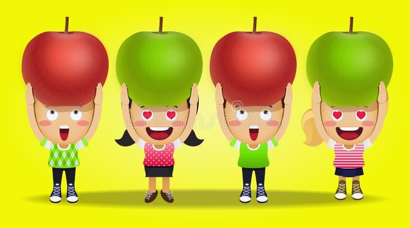 Gente feliz que lleva manzanas grandes ilustración del vector